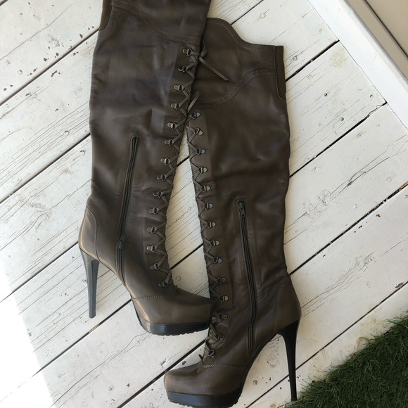 Stuart weitzman leather lace up tall heeled boots